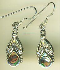 "925 Sterling Silver Abalone Paua Long  Drop / Dangle Earrings 35mm (1.3/8"")"