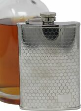 6 oz Etched Honeycomb Print Alcohol Liquor Flask Made from Stainless Steel