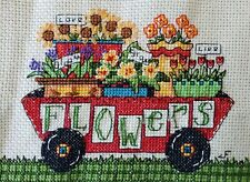 Counted Cross Stitch Flower Cart, Finished and unframed