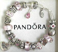 Authentic Pandora Silver Mom Charm Bracelet Pink Thanks Family European Charms