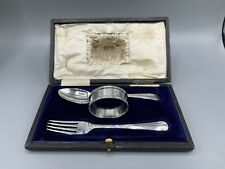 More details for ww1 art deco solid silver fork & spoon set & 1959 solid silver napkin ring
