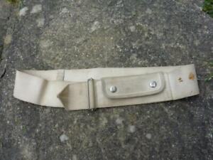 "1945 WWII British Royal Navy Naval White Canvas Money Belt, Up to 38"""