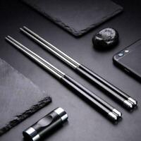 1 Pair Reusable Chopsticks Metal Korean-Chinese Stainless-Steel Food Chop V8W1