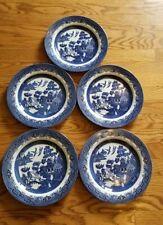 """6 Churchill England Blue Willow Dinner Plates! Mint 10.25""""D"""