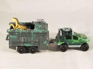 Matchbox Lost World Jurassic Park Mercedes AAV & Trapper Trailer Garage Set RARE