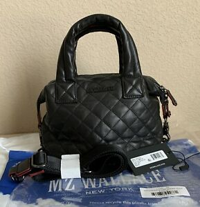 NWT MZ Wallace Black Quilted Leather MICRO Sutton