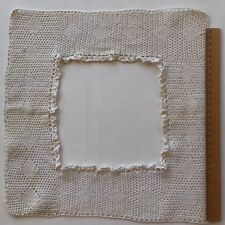 Antique Hand Filet Crocheted Bodice Edging Trim Lace Square Off White Cotton