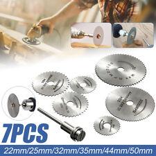 7PCS Cutting Wheel Discs Mandrel HSS Rotary Circular Saw Blades Tool Accessory