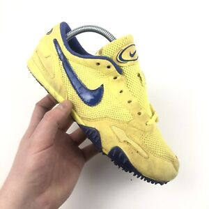 Vintage Nike Running Spikes UK 7 Neon Yellow / Blue