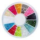 1800pcs 2mm Nail Art Half Round Pearls Rhinestone 12 Colors Decoration Wheel 2mm