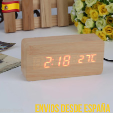 Reloj Despertador De Madera Hora Termómetro Control Sonido Temperatura NOVEDAD