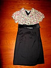 "16 DRESSBARN Summer BLOUSE TOP Dress KNEE 39"" Length Black-SKIRT-stretch Belt"