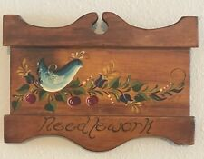 Vintage Hand Painted Folk Art Wood Needlework Header Sign Dated 1976 Bird Branch