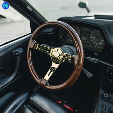 "VIILANTE 2"" DEEP 6-HOLE STEERING WHEEL **WALNUT WOOD GRAIN** GOLD CHROME MOMO"