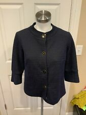 J. Mclaughlin Navy Blue Tweed Short Sleeve Button-Up Jacket, Size XS