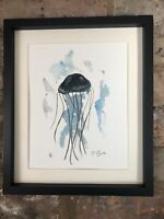 Jelly Fish Signed Original Watercolour And Ink Painting, Vintage, Art, Gift