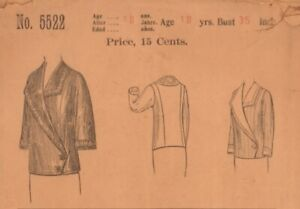 1913-14 Butterick 1/4 Fitting coat for Misses & Small Women Dressmaking Pattern