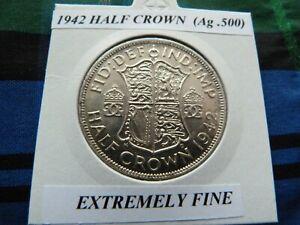 EXTREMELY FINE? 1942 HALF CROWN  (Ag .500)  George VI pre 1947
