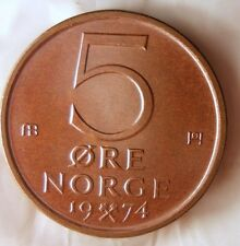 1974 NORWAY 5 ORE - UNC - From Norwegian Mint Roll - BARGAIN BIN #CCC