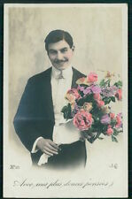 Gay interest Hand colored Male man Real Photo old 1910-1920s French postcard b12