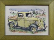 Old Yellow Pickup Truck by Bill Crowley original acrylic archivaly framed