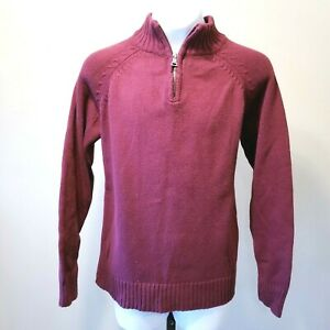 Childrens Place Boys Sz M 7/8 Maroon Pullover Long Sleeve 1/4 Zip Sweater