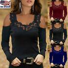 Womens Lace V Neck Tops T-Shirt Ladies Cold Shoulder Long Sleeve Blouse Pullover