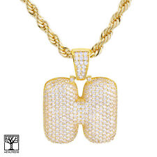"""H Initial Custom Bubble Letter Gold Plated Iced CZ Pendant 24"""" Chain Necklace"""