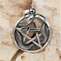 Schlange Pentagramm Anhänger 925er Silber Symbol Schmuck - NEU