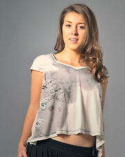 ANAMA SHADES OF GREY, VINTAGE LOOK, BUTTERFLIES PRINT CROPPED T-SHIRT