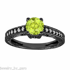 1.14 CARAT PERIDOT AND DIAMOND ENGAGEMENT RING VINTAGE STYLE 14K BLACK GOLD