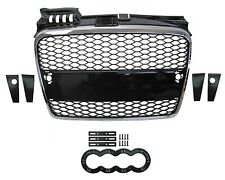 Chrome+Black Front Grille RS4 style Audi A4 Honeycomb mesh 2005-8 RS4 B7