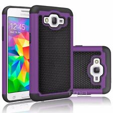 Fits Samsung Galaxy Grand Prime Case Rugged Shockproof Hybrid Cover - Purple