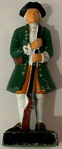 Vintage Cast Iron Colonial Green Soldier Door Stop Stay-Minute Man