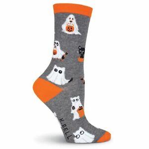 K.Bell Halloween Trick or Treat Cats Ghosts Gray Ladies Crew Socks New