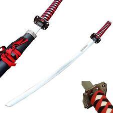 "40"" Japanese Red & Black Samurai Katana Bushido Sword Carbon Steel Collectible"