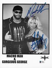 RANDY SAVAGE & GORGEOUS GEORGE WCW WWF SIGNED AUTOGRAPH 8.5X11 PHOTO BECKETT COA