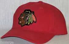 Chicago Blackhawks Polo Style Cap ~Hat ~CLASSIC NHL PATCH/LOGO ~RED HOT RED~NEW