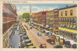 Linen postcard, old cars lined on Main Street, Brattleboro, Vermont