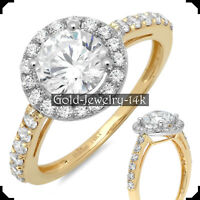 14K Yellow GOLD Ring MARLA 2.30Ct Round Diamond Lab-created Engagement for Woman