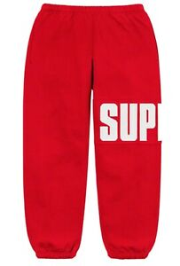 Supreme Rib Sweatpants Red XL White Box Logo New Block Authentic Confirmed