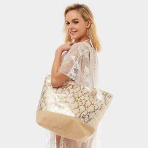 NEW White & Gold Python Snake Skin Reptile Print Purse Beach Tote Shopping Bag