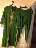 Ladies Asian three piece salwar suit + dupatta in green - tailor made in India