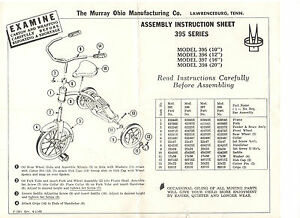 VINTAGE 1968 MURRAY TRICYCLE ASSEMBLY INSTRUCTION SHEET! SHOWS ALL PARTS! 395