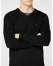 Tommy Hilfiger V Neck Cotton Silk Black Jumper - Size: XL