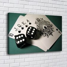 Table Cards Dice Poker Home Decor Room HD Canva Print Picture Wall Art Painting