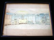 CGT FRENCH LINE SS FRANCE I Watercolor Interior 1 1912