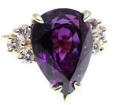 Amethyst & Diamonds Ring 9.76 t.c.w 14ky Gold Size 6