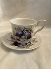 Royal Victorian Fine Bone China England Tea Cup Saucer Purple Grapes.