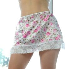 Vtg Style Hand made Floral Mini Shiny Lacy Satin 2 Tone Half Slip Skirt M L
